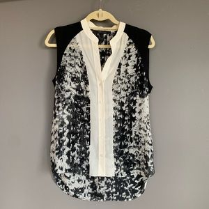 BCBG Silk Graphic Patterned Blouse XS
